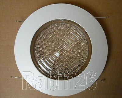 "6"" Inch Recessed Can Light Shower Trim Glass Clear Lens Fits Halo Juno White"