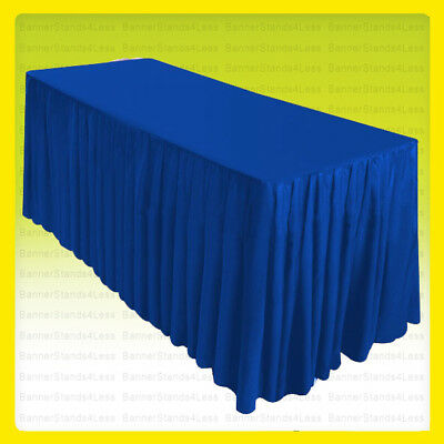 8' Fitted Table Skirt Cover Wedding Banquet w/ Topper Tablecloth - ROYAL BLUE