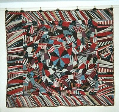 """Dubuffet"" ABSTRACT/CRAZY QUILT w Medallion & Flange: 60"" x 75"" Wools, c1900, NY"