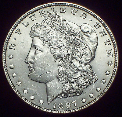 1897 P  SILVER MORGAN DOLLAR UNC - Low Mintage - Frosty Luster Authentic $1 Coin