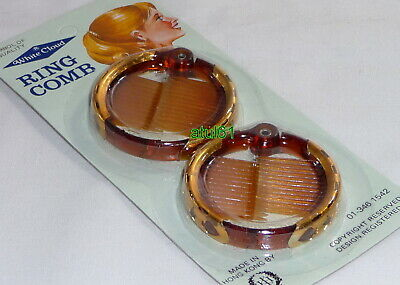 Pk Of 2 Round Brown Ring Comb Ponytail Holder Hair Clip Medium 50 Mm Accessories