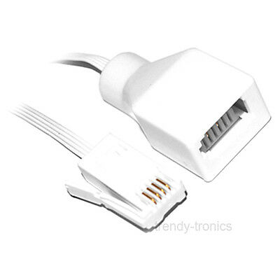 5M BT Internet Modem Extension Cable Lead For Telephone Fax In White