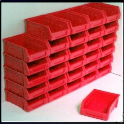 30 Size 1 Red Parts Storage Stacking Bin Bins Box