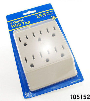 6-Outlet 3-Prong Grounded AC Power Wall Tap, UL Listed