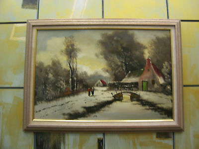 Vintage Possibly Antique Signed Oil on Board Painting of Rural Winter Scene