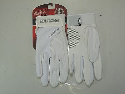 1 PR Rawlings Workhorse Batting Gloves All White SMALL