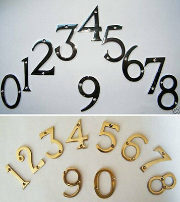 "75mm House Numbers Solid Brass or Polished Chrome 3"" Numerals House Gate Door"
