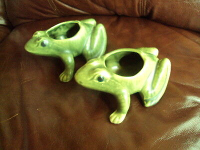 VINTAGE  MCCOY POTTERY 2 GREEN FROGS PLANTERS CUTE!!!