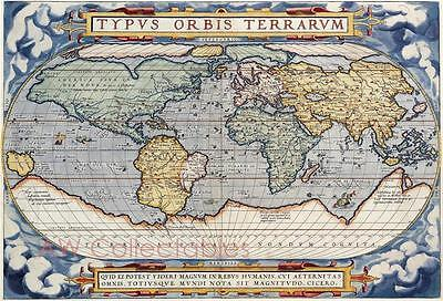 """ABRAHAM ORTELIUS MAP OF THE WORLD  c:1570 A2+ 24"""" x 17"""""""