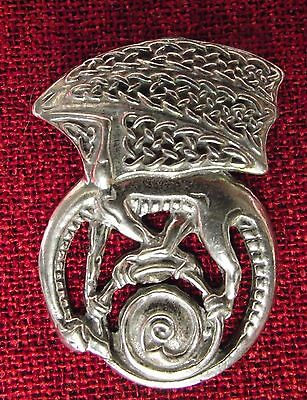 Celtic Dragon Brooch Pin Medieval Pendragon Myth Magic SCA Silver Pewter