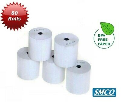 SMCO  Thermal Paper Credit Card Machine Till Rolls  57x40x12.7mm Qty 80 Rolls