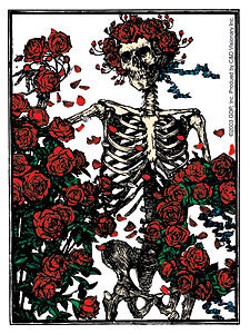 New, THE GRATEFUL DEAD Skeleton and Roses Clear STICKER
