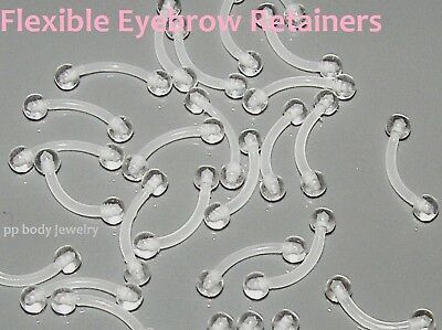 """1pc. 16G~5/16"""", 3/8"""" Clear Ball Bio Flex Curved Eyebrow Barbell Retainer"""
