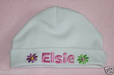 Personalised Baby Hat, Girls Flower Design, Great Gift!