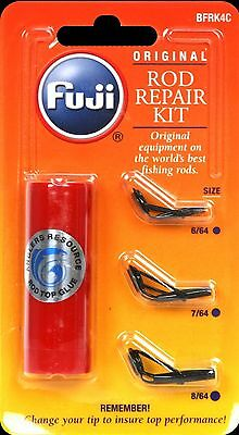 Fuji Fishing Rod  Guide Tip Repair Kit 3 Sizes + Glue- Bfrk4C / Black