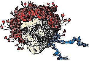 New, THE GRATEFUL DEAD Skull and Roses Clear STICKER