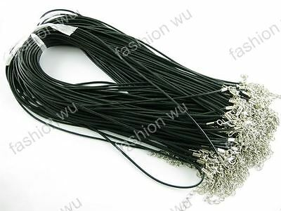 """100Pcs/lot Wholesale 1.5MM 17""""Black Import Waxed Thread Necklace Jewelry Cord"""