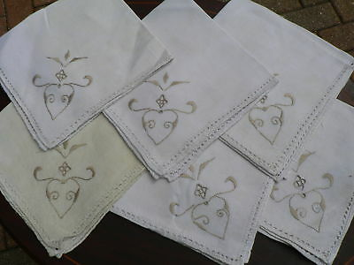 Vintage Embroidered Linen Tablecloth 6 Napkins Cutout