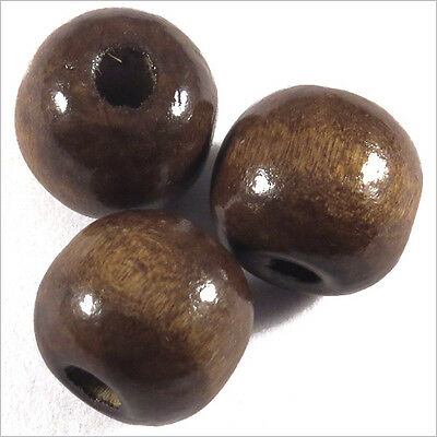 Lot de 20 Perles rondes en Bois 12mm Marron