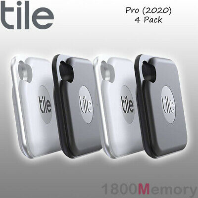 GENUINE Tile Pro 2020 Bluetooth Tracker 4 Pack with Replaceable Battery Black