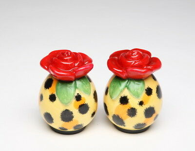 LEOPARD PRINT WITH ROSE SALT PEPPER SHAKERS BY BABS