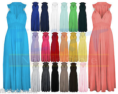 LADIES LONG STRETCH WOMENS MAXI DRESS SPRING COIL EVENING DRESSES 6 8 10 12 1416