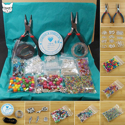 Large Jewellery Making Starter Kit - Beads Tools Silver Findings Threads Charms
