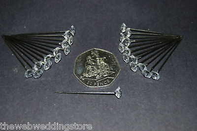Corsage Pins pack 25 Diamante topped pins length 40mm - NOW POST FREE