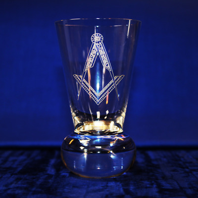 Masonic Square and Compasses Firing Glass! FREE ENGRAVING