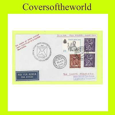 Vatican 1981 flight cover, Milan-Lodrino,Switzerland