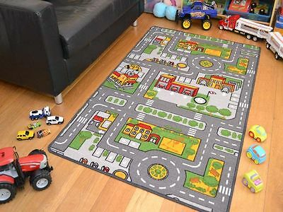 Large Size Boys Kids Kiddies Play Road Map Bedroom Mat Rugs Safe Rubber Backing