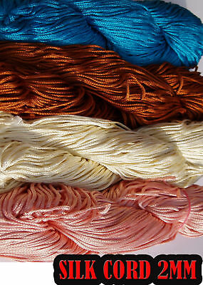 2MM SILK CORD FINE JEWELLERY THREAD CRAFT EMBROIDERY 1m