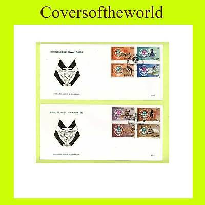 Rwanda 1985 Scout set on two First Day Covers