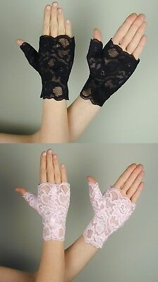 Wrist Length LACE FINGERLESS Gloves BLACK or BABY PINK