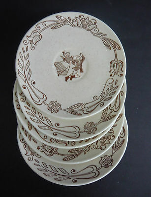 5 ROYAL CHINA BROWN COUNTY COFFEE CUP SAUCERS Vintage