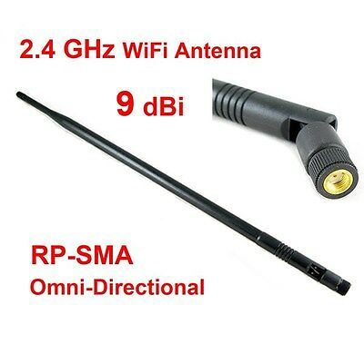9dBi High Gain 2.4GHz 802.11 b/g/n Omni WiFi Antenna RP-SMA Connector