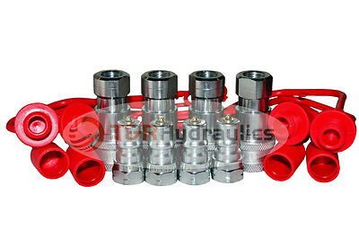 "(4) 1/4"" ISO-B Hydraulic Quick Couplers w/Dust Cap&Plug FREE SHIPPING"