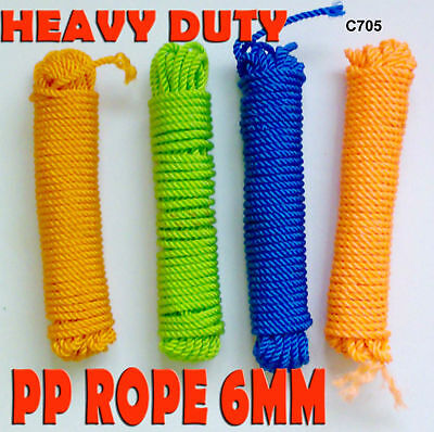 6mm POLYPROPYLENE GARDEN ROPE CORD CLOTH LINE 15 mtr