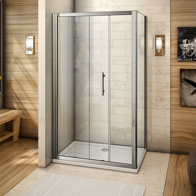 Aica 1400x900mm Sliding Shower Enclosure Cubicle Glass Side Panel and Stone Tray