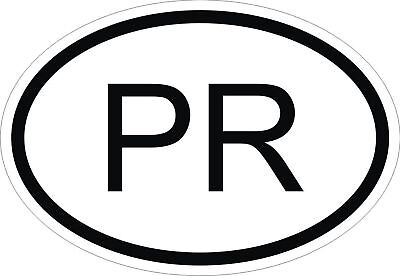 PR PUERTO RICO COUNTRY CODE OVAL STICKER bumper decal