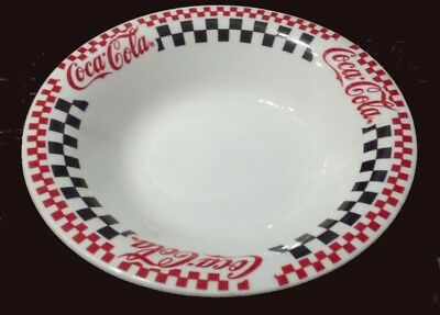 "Coca Cola Gibson Red & Black Checkered 8"" Coupe Soup Bowl 1996 Coke NICE"