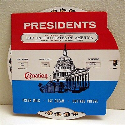 !969 Carnation Dairy US Presidents Political Dial Chart