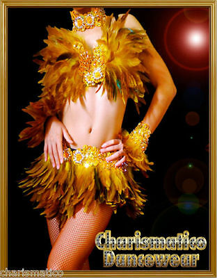 BROWN Feather SAMBA BURLESQUE DIVA dance BRA BELT dress