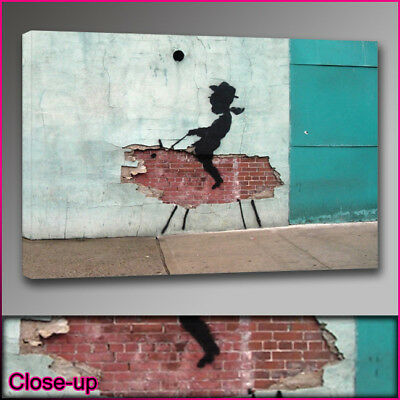 Banksy kid cowboy wall canvas print A1 24x36 Art