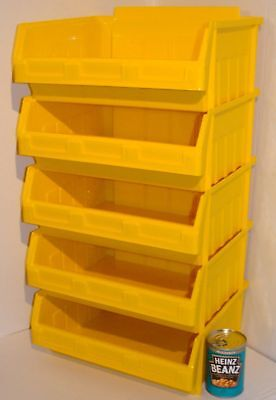 5 Stacking Parts Storage Picking Bins Yellow Ex Large