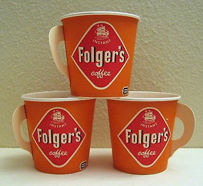 3 Folgers Waxed Sample Instant Coffee Cups Old Stock