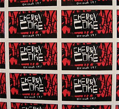 44 Cherry Coke Soda Stickers Coca Cola USA Adv Sheet