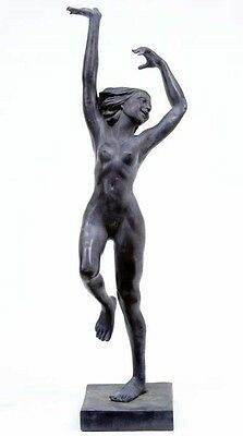 6.5ft Art Nouveau French Bronze Dancing Figurine Girl
