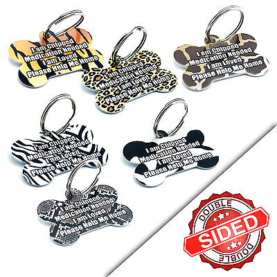 Cute Personalised Animal Print Pet Dog Name ID Tag Pet Tags - Engraved FREE