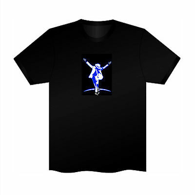 Sound Activated EL LED T-Shirt Tee Tshirt Micheal Jackson Music Flashing  Party